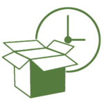 open box in front of a clock representing timely delivery